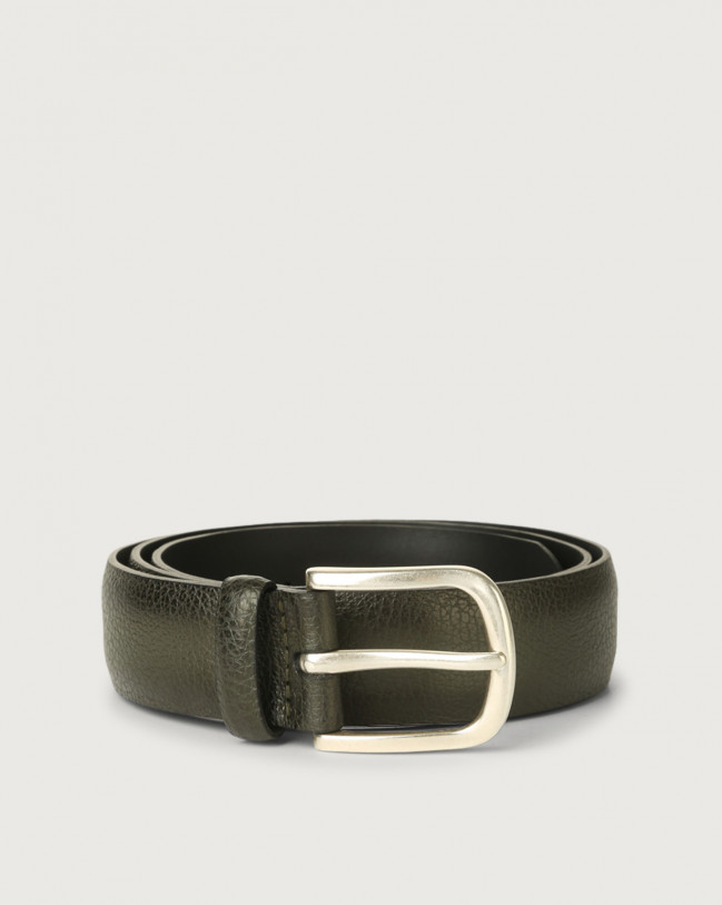 Orciani Micron Deep leather belt Leather Olive Green