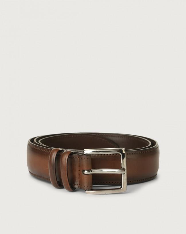Orciani Buffer leather belt 3,5 cm Leather Cognac