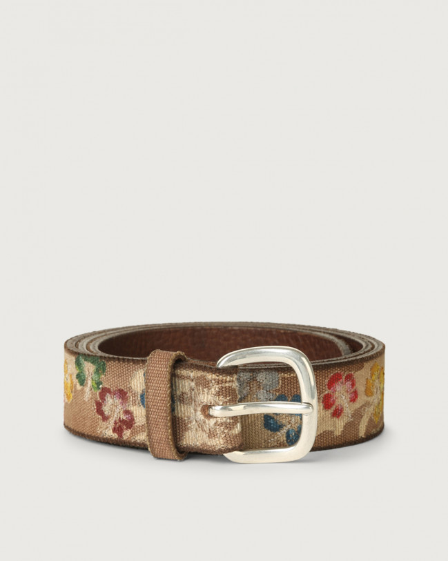 Orciani Flower Color fabric and leather belt Leather & cotton Cognac
