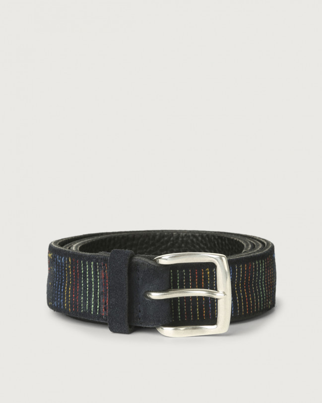 Orciani Cloudy Stripe suede leather belt Suede Deep Blue