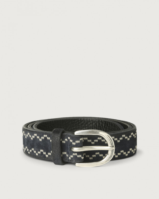 Orciani Cloudy Frame suede leather belt Suede Deep Blue