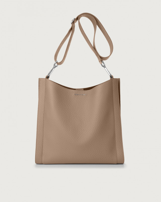 Orciani Iris Soft leather crossbody bag Leather Taupe