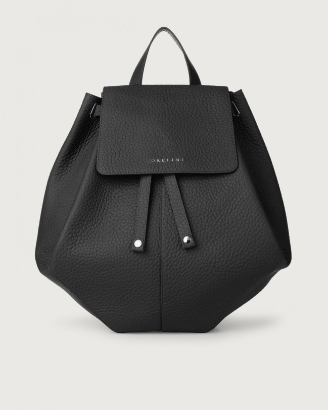 Orciani Iris Soft leather backpack Leather Black