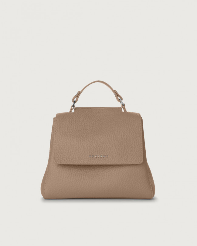 Orciani Sveva Soft small leather handbag with strap Leather Taupe