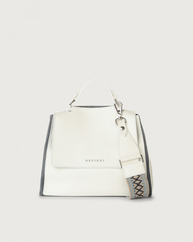 Orciani Sveva Warm small leather handbag with strap Leather & fabric, Suede Light blue