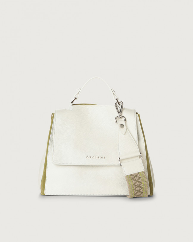 Orciani Sveva Warm small leather handbag with strap Leather & fabric, Suede White+Green
