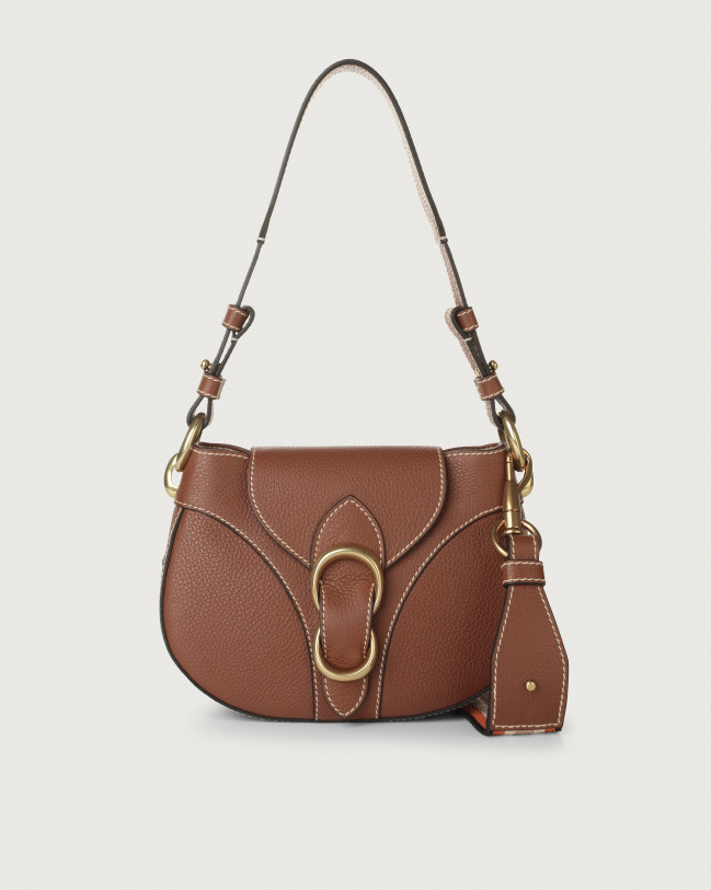 Orciani Beth Fanty small leather shoulder bag Leather & fabric Cognac