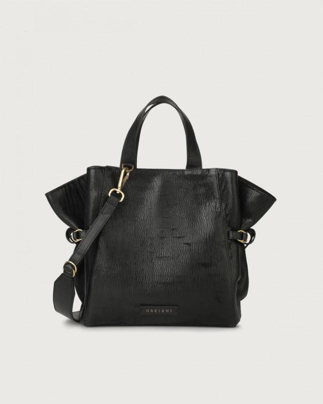 Orciani Fan Cutting medium leather handbag Leather Black