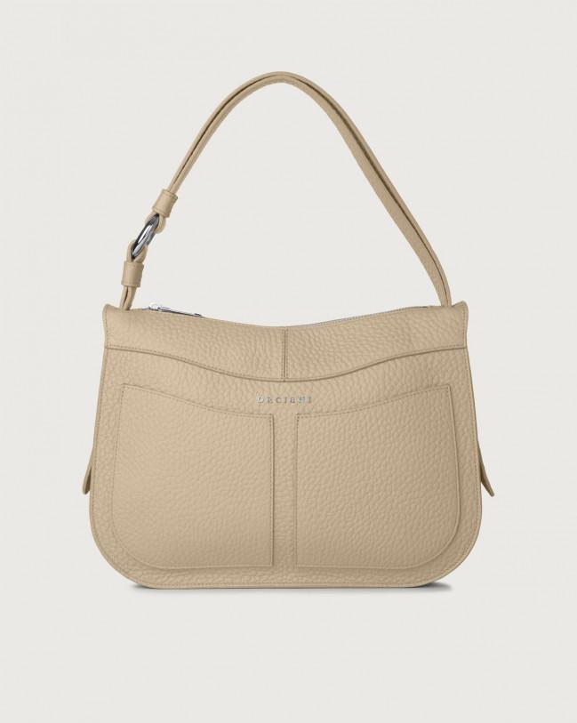 Orciani Ginger Soft medium leather shoulder bag Leather Sand