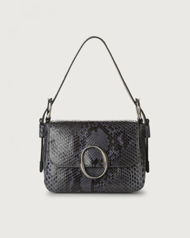 Orciani Soho Diamond pyhton leather mini bag with strap Python Leather Deep blue