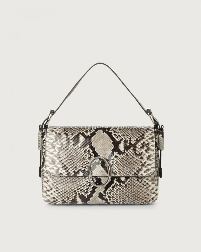 Orciani Soho Diamond python leather baguette bag with strap Python Leather White