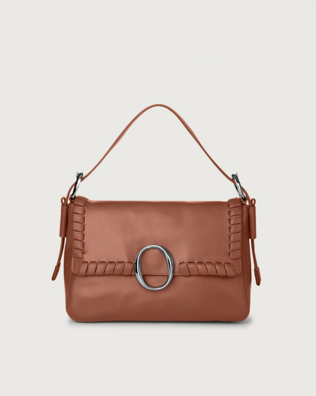 Orciani Soho Liberty leather baguette bag with strap Leather Cognac