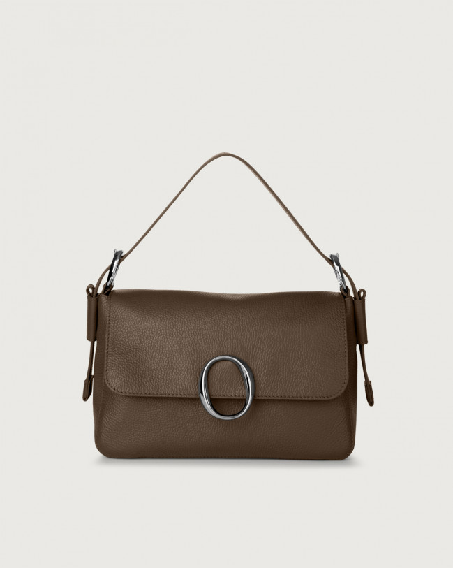 Orciani Soho Micron leather baguette bag with strap Leather Brown