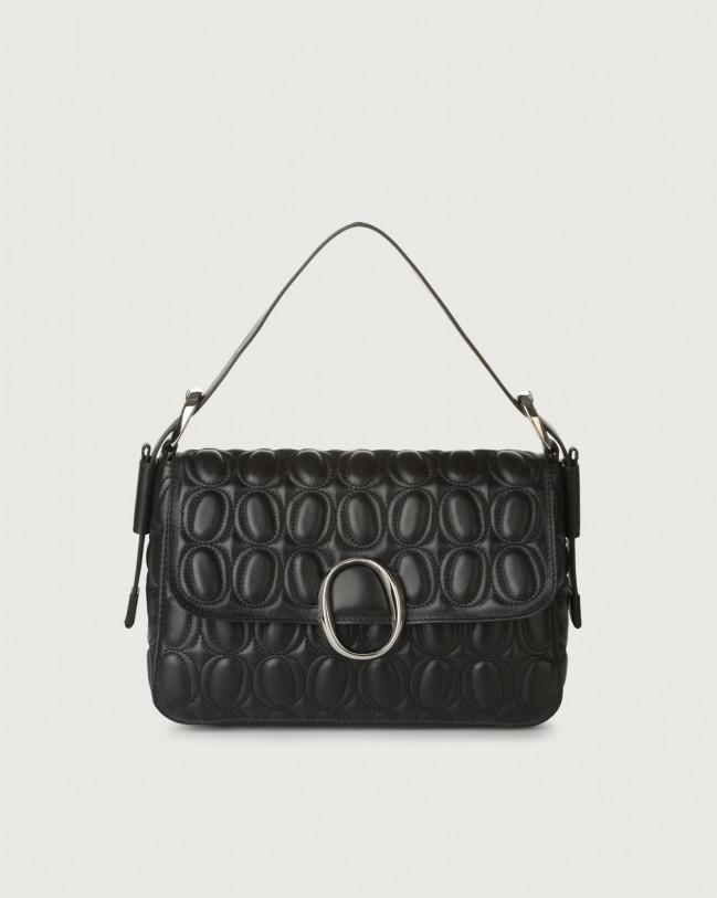 Orciani Soho Matelassé leather baguette bag with strap Leather Black