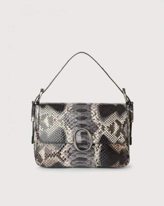 Orciani Soho Naponos python leather baguette bag with strap Python Leather Grey