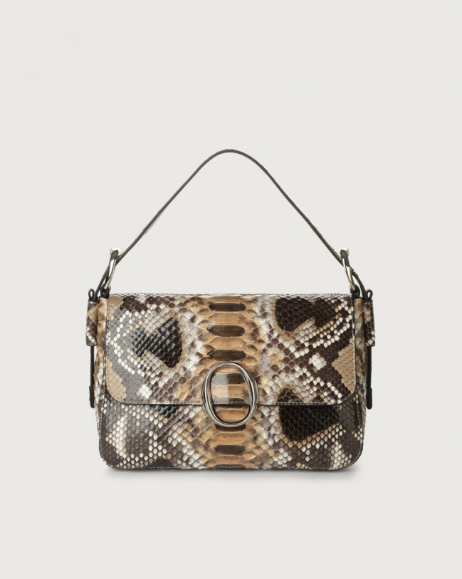 Orciani Soho Naponos python leather baguette bag with strap Python Leather Sand