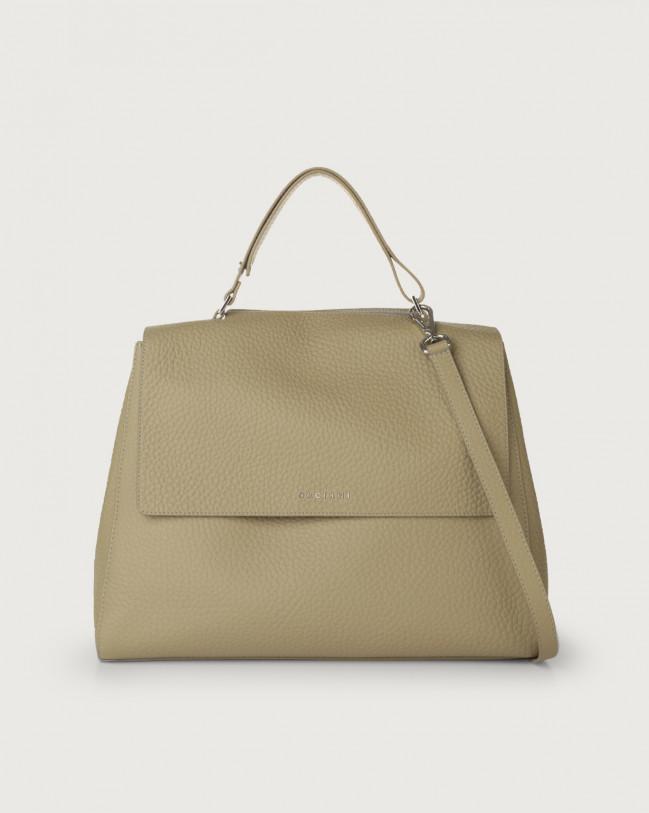 Orciani Sveva Soft large leather shoulder bag with strap Leather Kaki