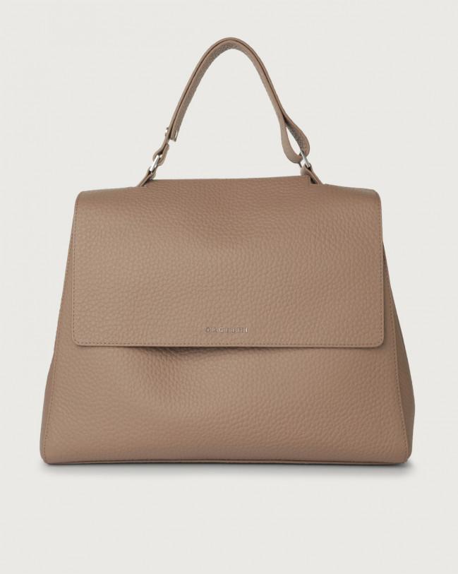 Orciani Sveva Soft large leather shoulder bag with strap Leather Taupe