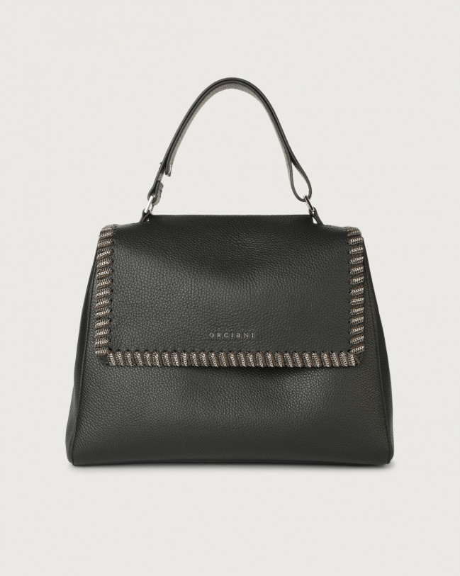 Orciani Sveva Chain medium leather shoulder bag with strap Leather Black