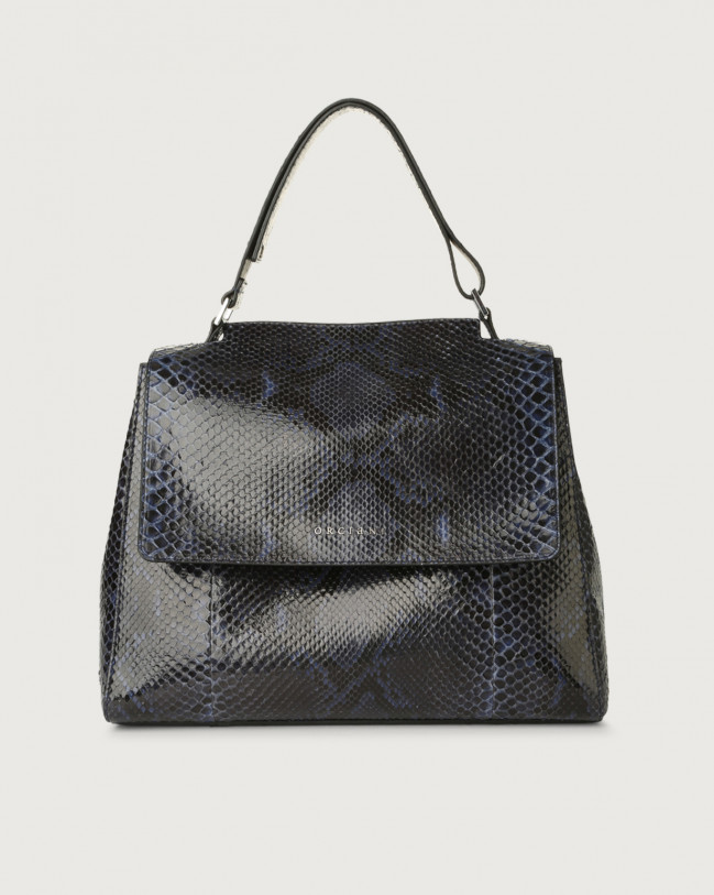 Orciani Sveva Diamond medium python leather shoulder bag with strap Python Leather Deep blue
