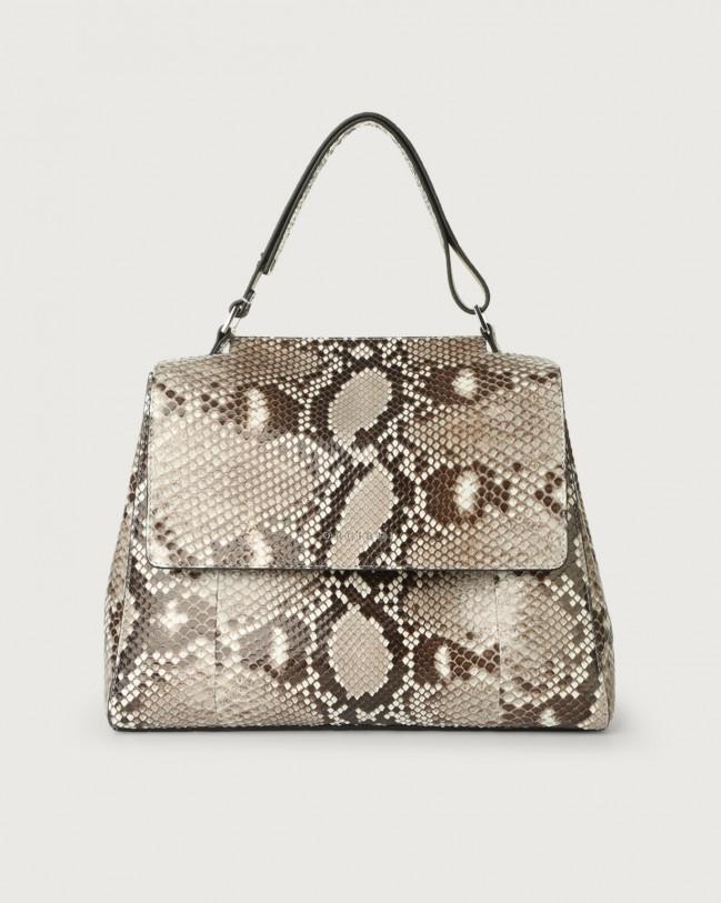 Orciani Sveva Diamond medium python leather shoulder bag with strap Python Leather White
