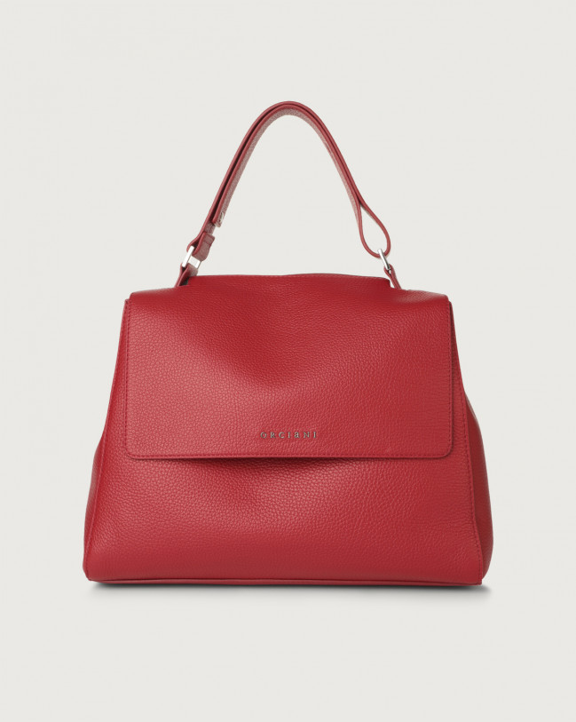 Orciani Sveva Micron medium leather shoulder bag with strap Leather Ruby red