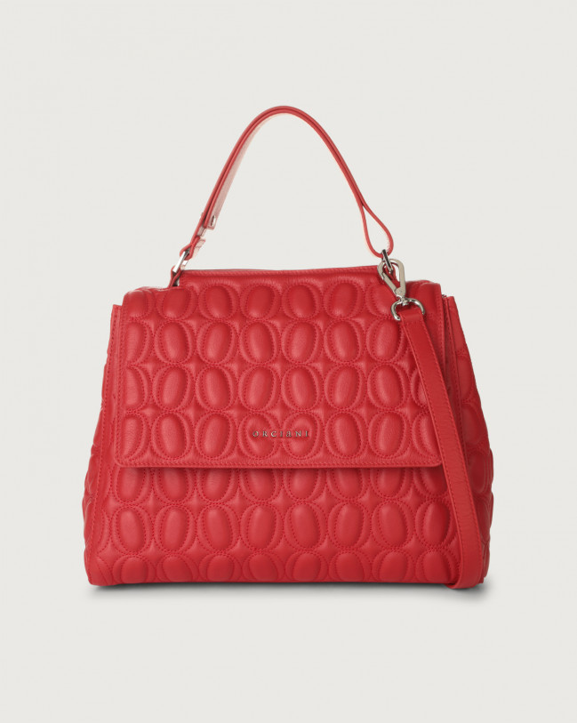 Orciani Sveva Matelassé medium leather shoulder bag with strap Leather Red
