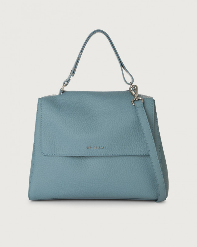 Orciani Sveva Soft medium leather shoulder bag with strap Leather Light blue