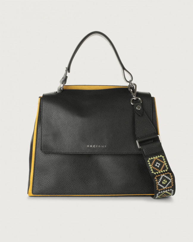 Orciani Sveva Warm medium leather shoulder bag with strap Leather, Suede Black+Yellow