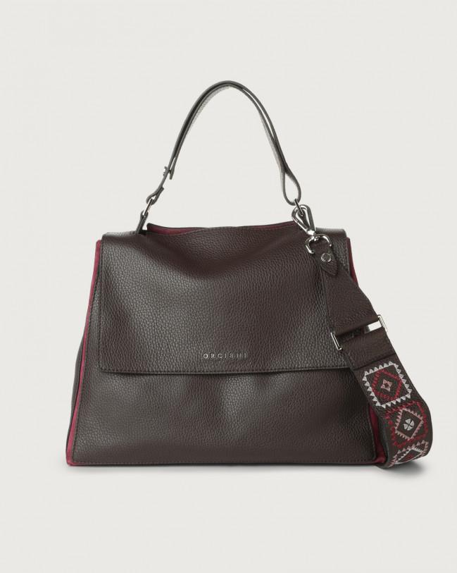 Orciani Sveva Warm medium leather shoulder bag with strap Leather, Suede Bordeaux