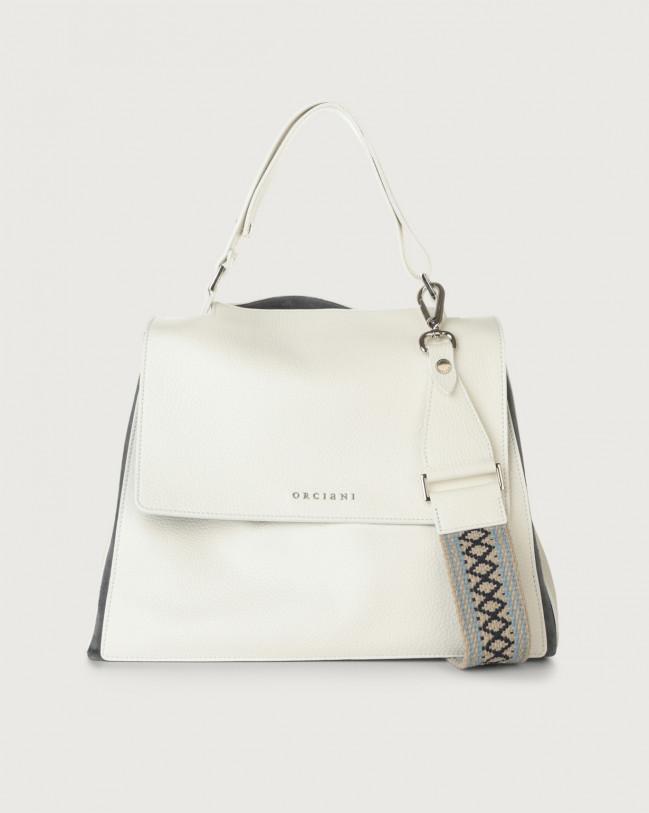 Orciani Sveva Warm medium leather shoulder bag with strap Leather & fabric, Suede Light blue