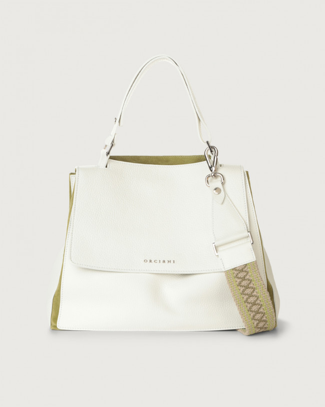 Orciani Sveva Warm medium leather shoulder bag with strap Leather & fabric, Suede White+Green