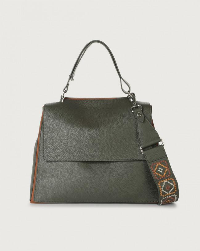Orciani Sveva Warm medium leather shoulder bag with strap Leather, Suede Green+Cognac