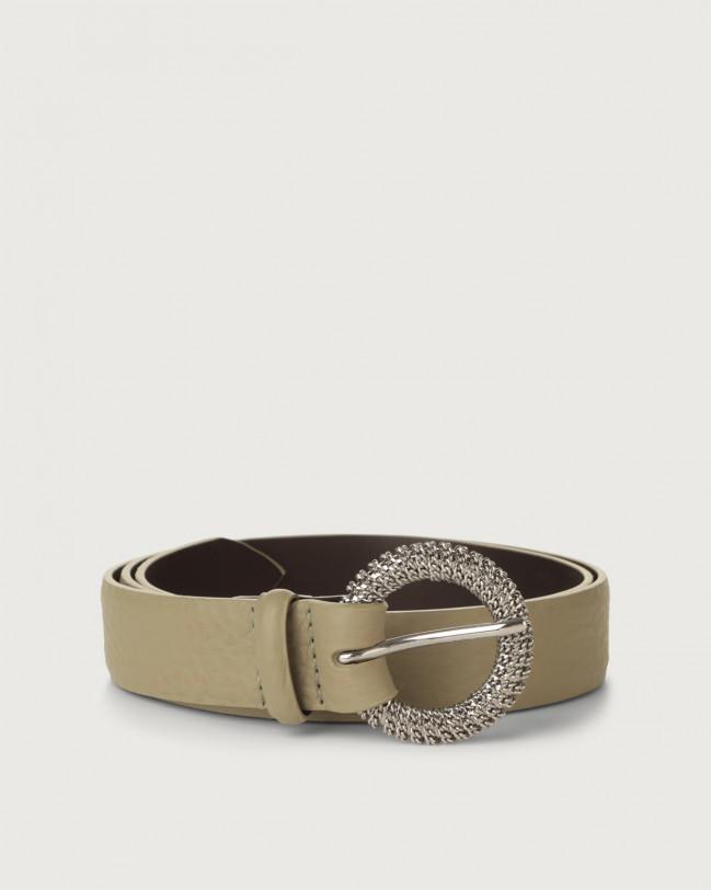 Orciani Soft chain buckle leather belt Leather Kaki
