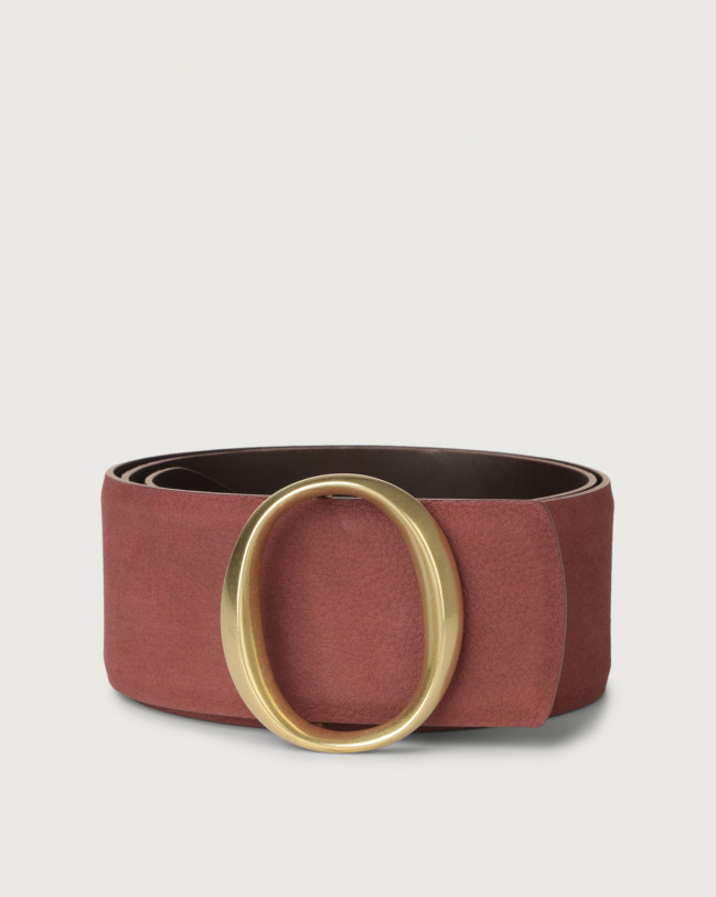 Orciani Alicante high-waist nabuck leather belt with monogram buckle Nabuck Terracotta