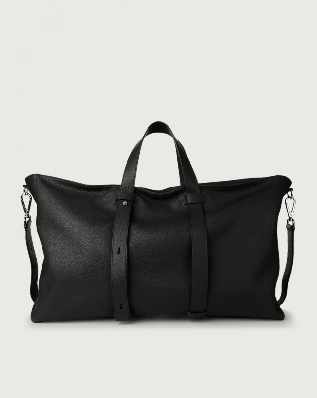Orciani Micron large leather weekender bag Leather Black