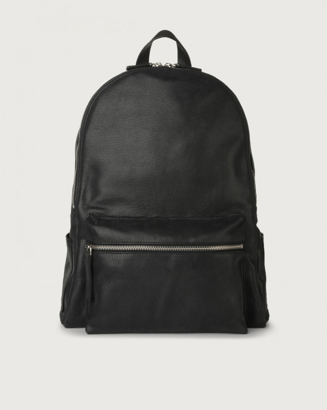Orciani Chevrette leather backpack Leather Black