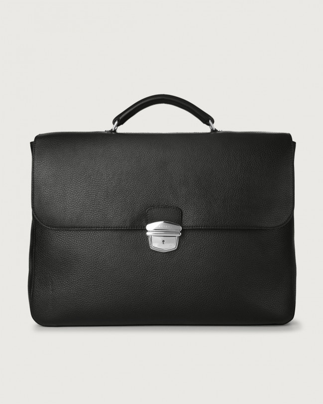 Orciani Micron large leather business bag Leather Black