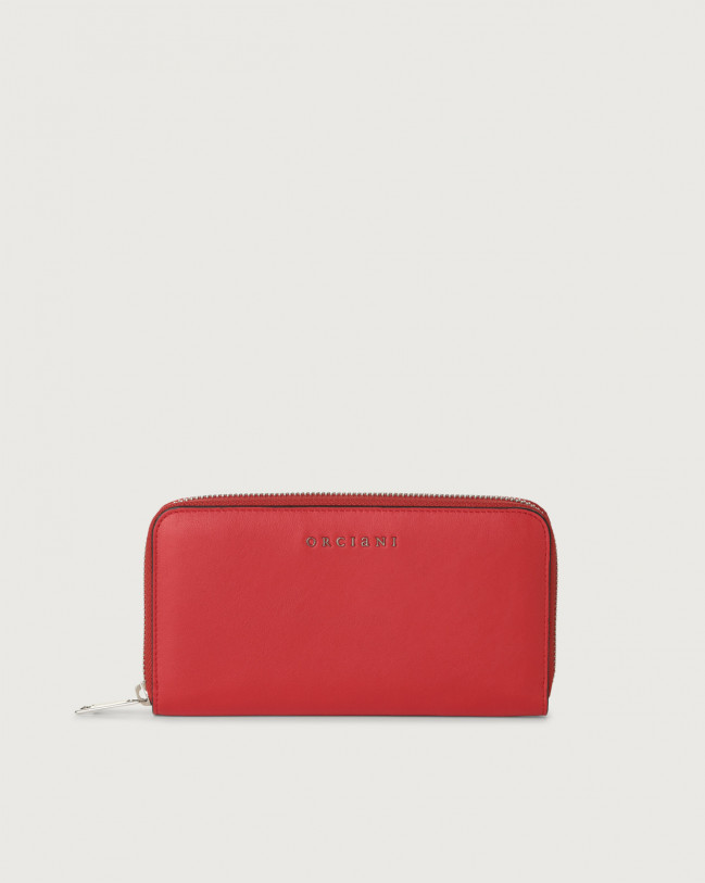 Orciani Liberty large leather wallet with zip Leather Red