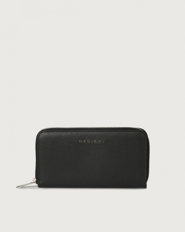 Orciani Micron large leather wallet with zip and RFID Leather Black