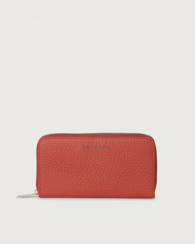 Orciani Soft large leather wallet with zip and RFID Leather Brick