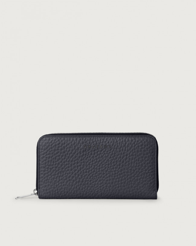 Orciani Soft large leather wallet with zip and RFID Leather Navy