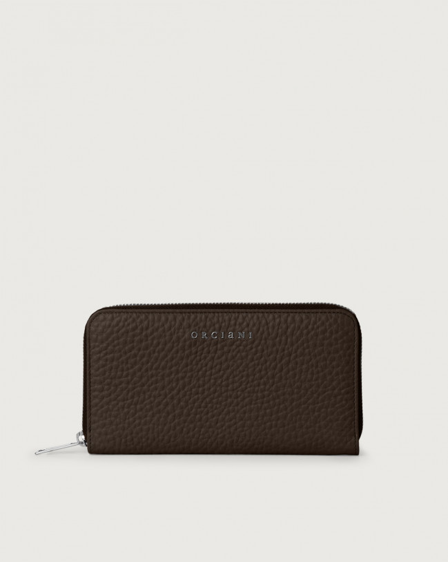 Orciani Soft large leather wallet with zip and RFID Leather Chocolate