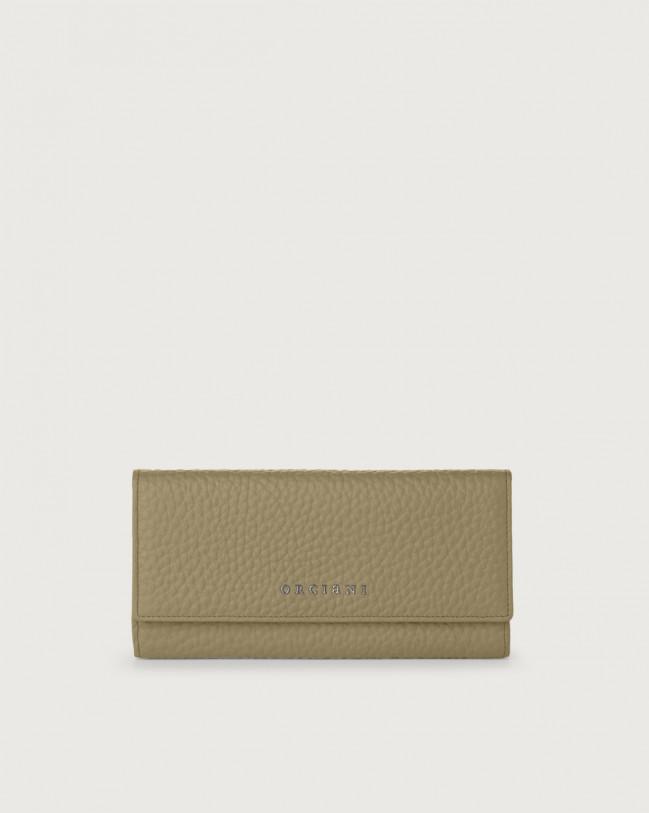 Orciani Soft leather envelope wallet with RFID Leather Kaki