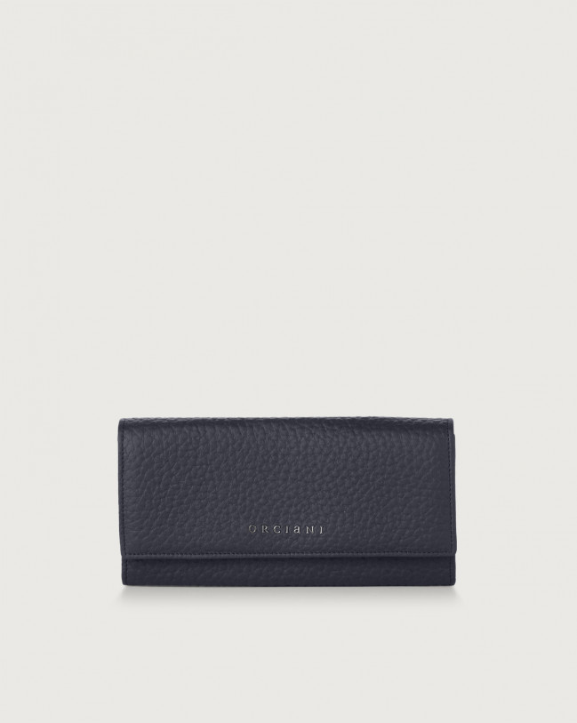 Orciani Soft leather envelope wallet with RFID Leather Navy