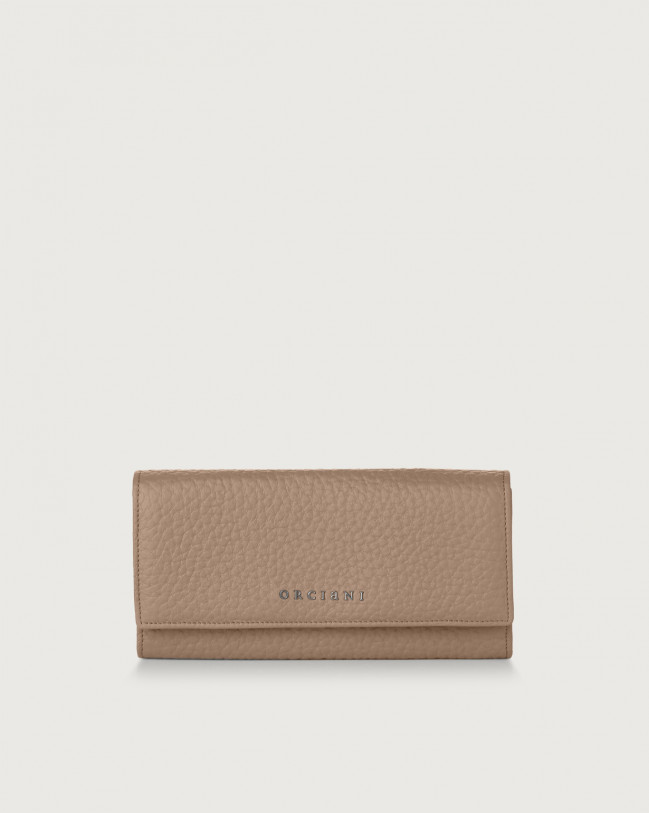 Orciani Soft leather envelope wallet with RFID Leather Taupe
