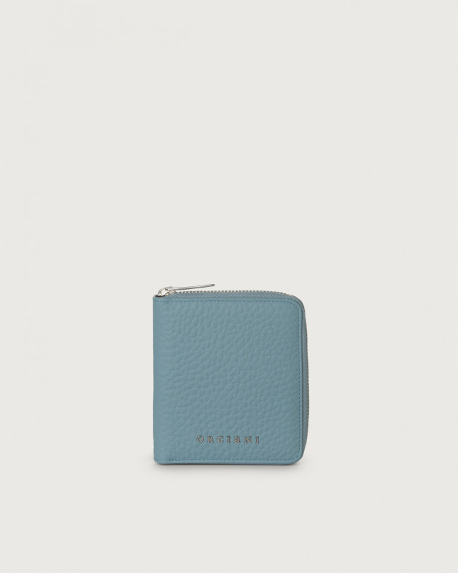 Orciani Soft small leather wallet with zip with RFID Leather Light blue