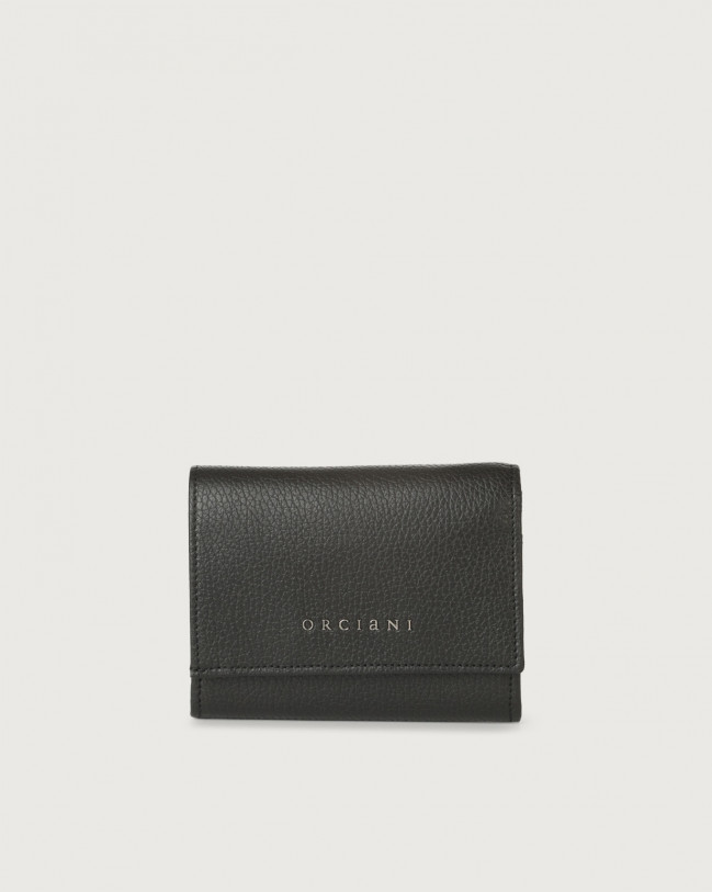 Orciani Micron small leather envelope wallet with RFID Leather Black