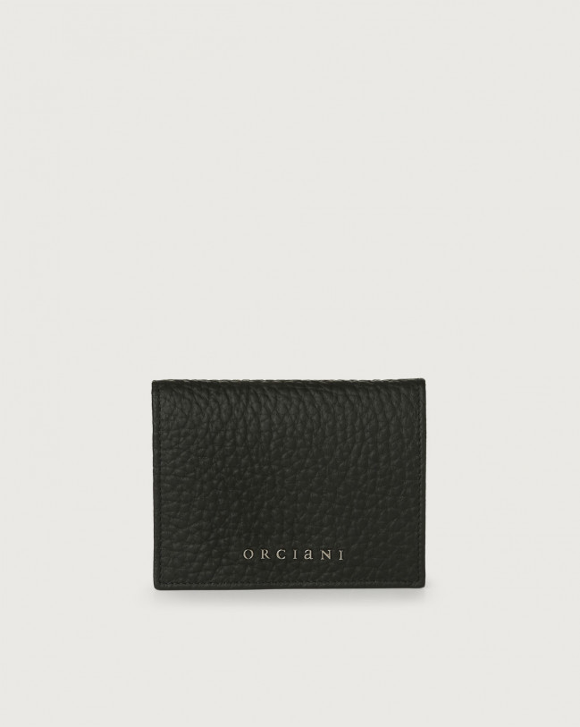 Orciani Soft small leather wallet with RFID Leather Black