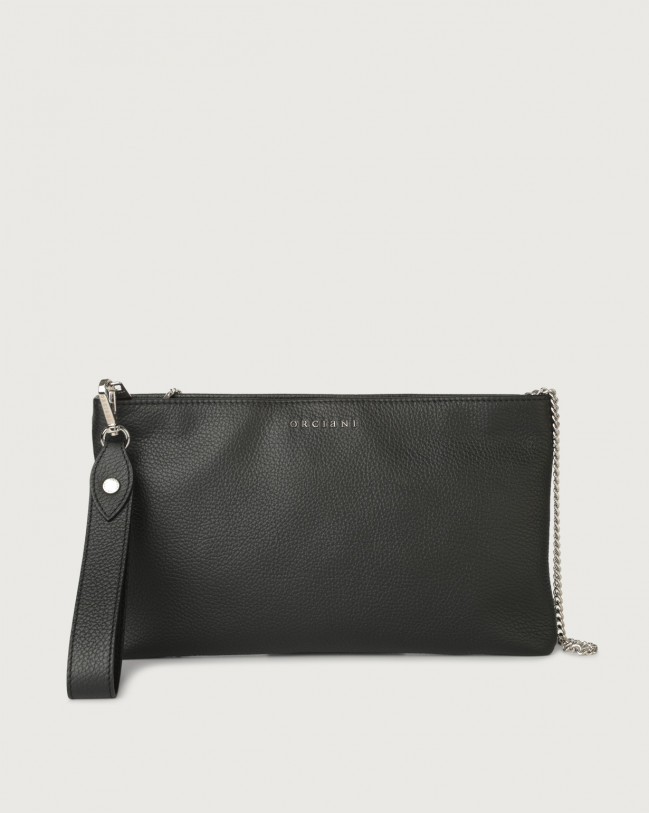 Orciani Micron leather pouch with wristband Leather Black